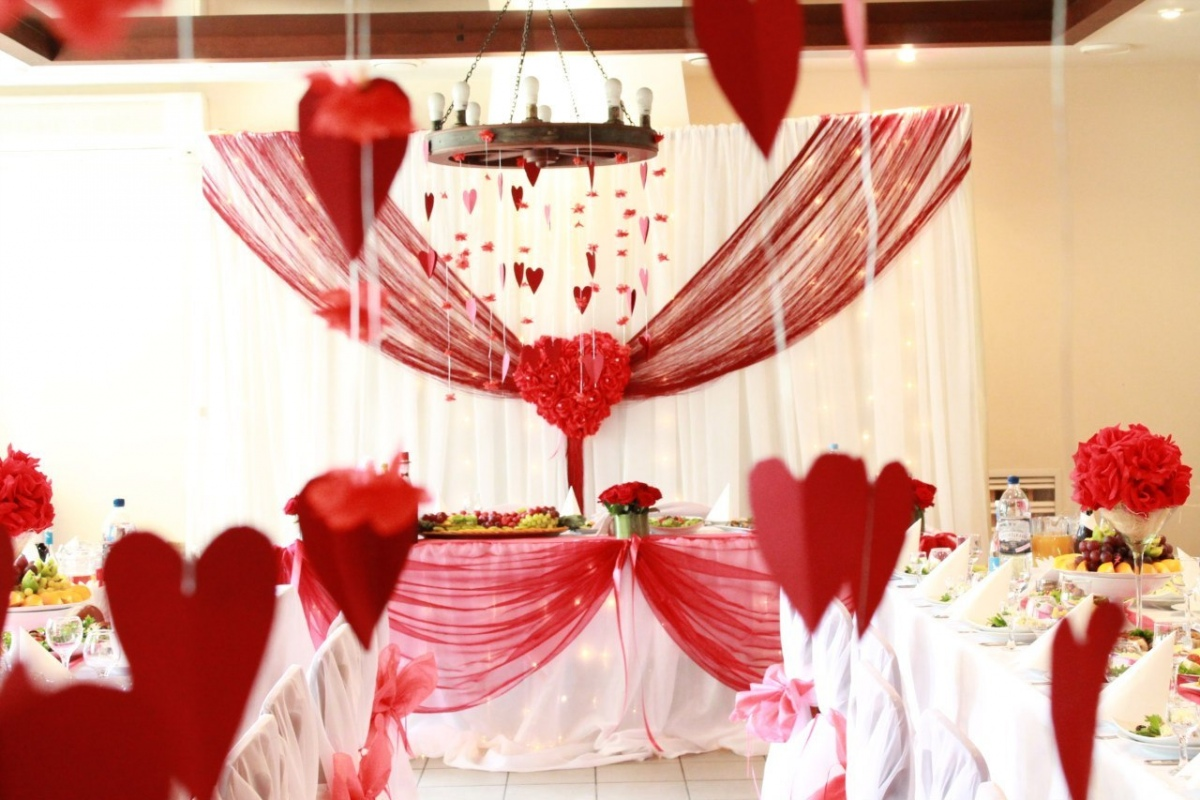 Оформление на свадьбу зала в красном цвете фото