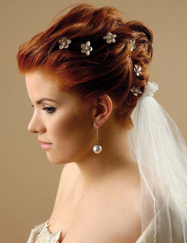Причёски свадебные на средние волосы с фатой и челкой 30
