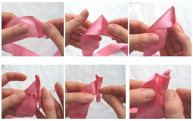 Как сделать бутон розы из атласной ленты