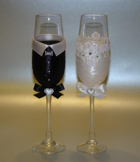 как самой украсить свадебные бокалы пошаговая инструкция с фото - фото 8