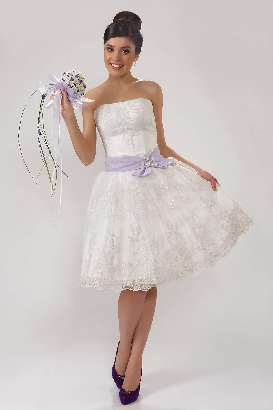 Свадебные короткие платья с пышной юбкой