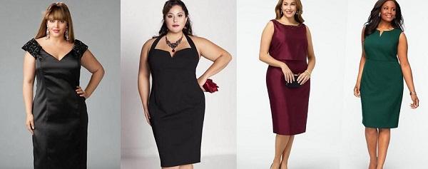 Платье-футляр хорошо подходит полным женщинам