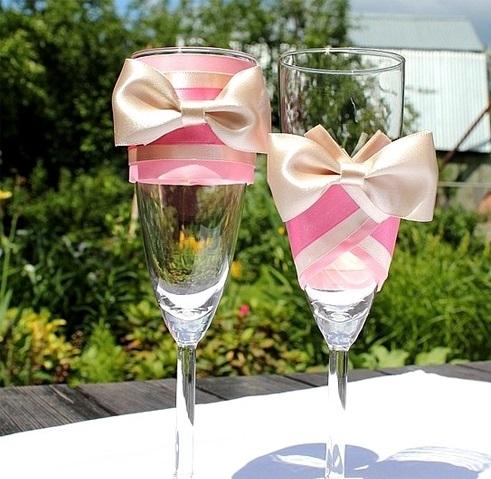 свадебные бокалы своими руками из атласных лент