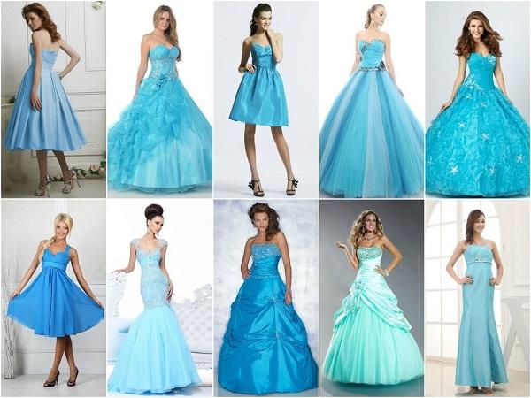 Необычные голубые свадебные платья