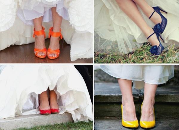 Цветные свадебные туфли