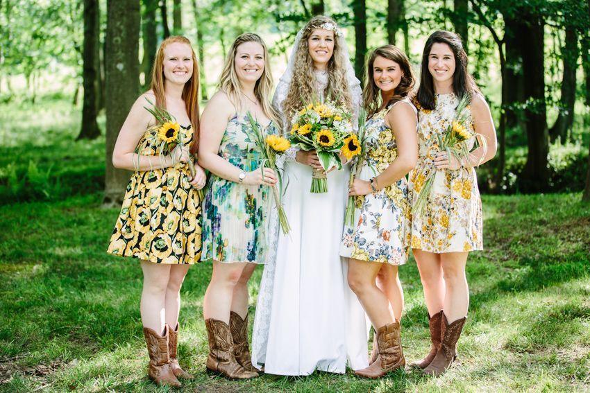 Стиль невесты и подружек рустик